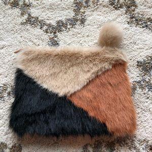 ASOS Faux fur Colorblock Clutch